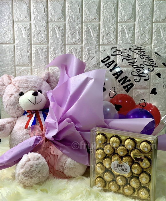 Birthday Balloon Bouquet with Bear and Choc - Carnations Florist Malaysia