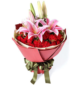 Lilies and Carnations Hand Bouquet - Carnations Florist Malaysia