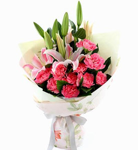 Lilies and Pink Carnations Hand Bouquet - Carnations Florist Malaysia