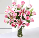 Lilies and Pink Roses in Vase - Carnations Florist Malaysia