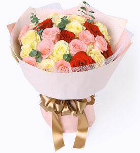 Mix Roses Hand Bouquet - Carnations Florist Malaysia