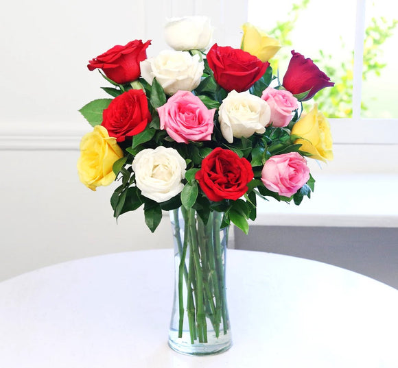 Assorted Roses in Vase - Carnations Florist Malaysia
