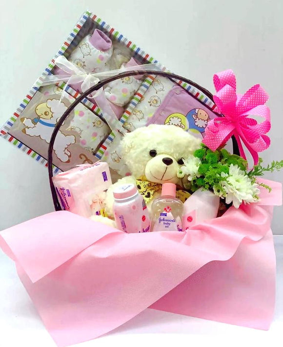 New Born Baby Girl Gift Set D - Carnations Florist Malaysia