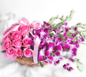 Orchid and Roses Basket - Carnations Florist Malaysia