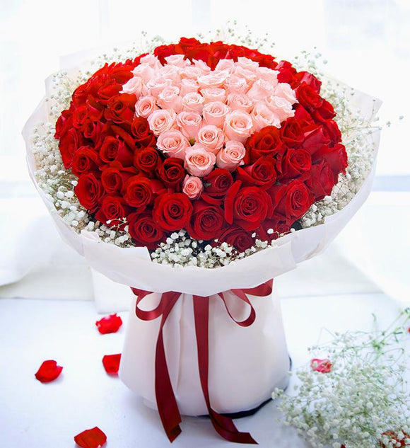 Pink and Red Love Bouquet - Carnations Florist Malaysia