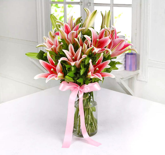 Pink Lilies in Vase - Carnations Florist Malaysia