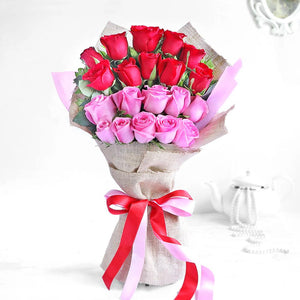 Pink and Red Roses Hand Bouquet - Carnations Florist Malaysia