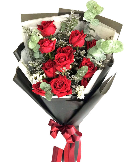 Red Seduction Hand Bouquet - Carnations Florist Malaysia