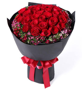 50 Red Roses Bouquet - Carnations Florist Malaysia