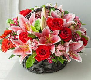 Roses and Lilies Basket - Carnations Florist Malaysia