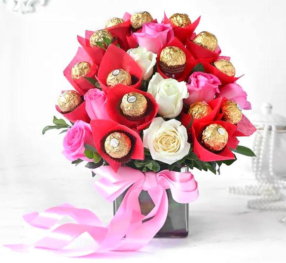 Roses and Choc in Vase - Carnations Florist Malaysia