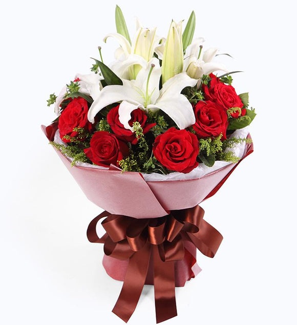 Lilies and Roses Hand Bouquet - Carnations Florist Malaysia