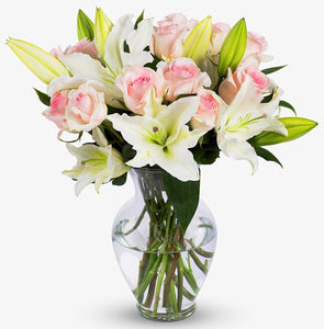 White Lilies and Pink Roses in Vase - Carnations Florist Malaysia