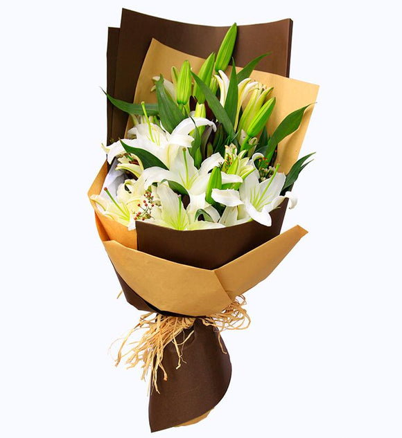 White Lilies Hand Bouquet - Carnations Florist Malaysia