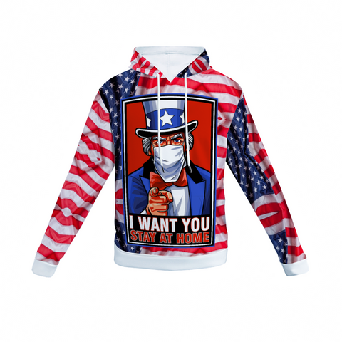 Uncle Sam Stay Home Covid Spun Velvet Hoodie