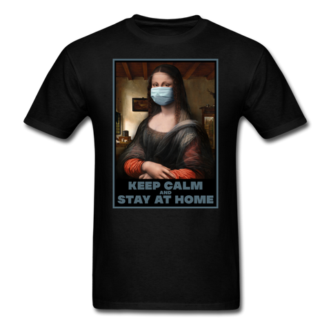 Mona Lisa Says Stay Home Unisex T-Shirt - black