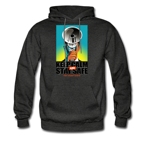 Keep Calm Stay Safe from Covid Hoodie - charcoal gray