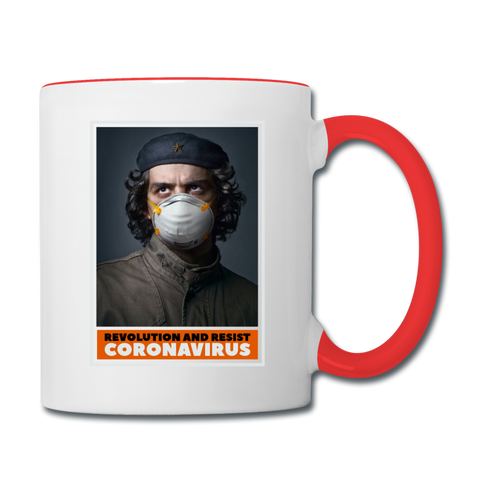 Revolution and Resist Coronavirus Coffee Mug - white/red