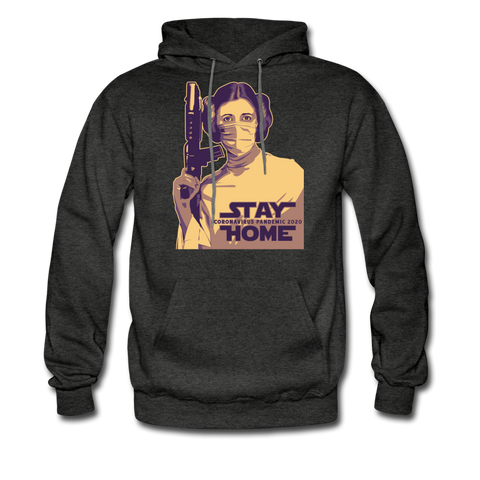 Stay Home Princess Leia Star Wars Covid Hoodie - charcoal gray