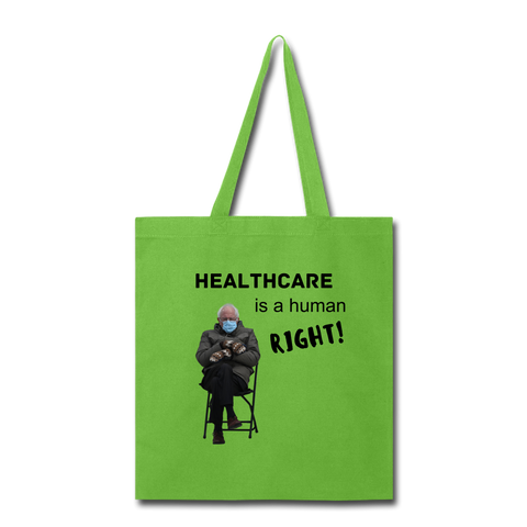 Healthcare is a Human Right CUSTOMIZABLE Tote Bag - lime green