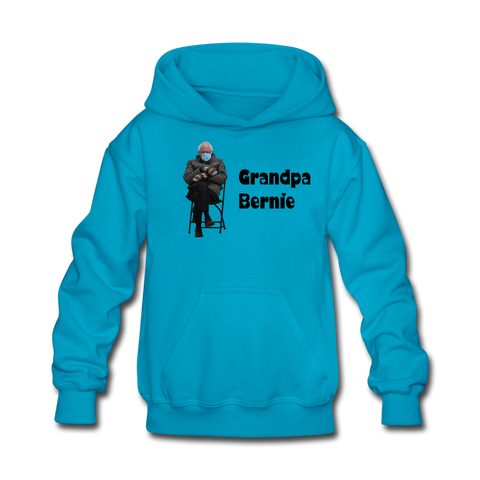 Grandpa Bernie #BernieMittesn CUSTOMIZABLE Kids' Hoodie - turquoise