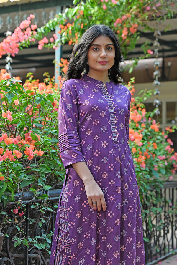 PRINTED HANDWORK KURTA WITH PANT SET