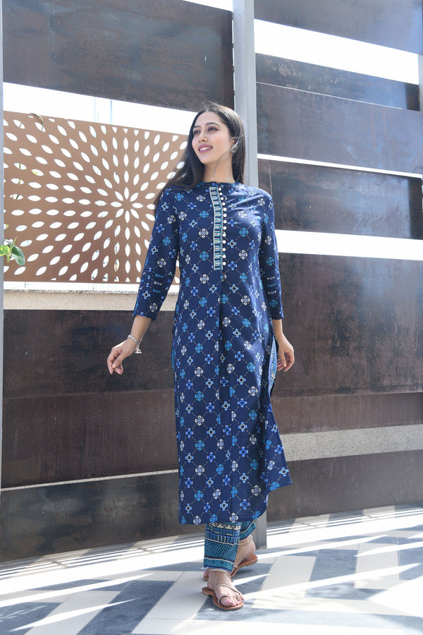 BLUE PRINTED HANDWORK KURTA WITH PANT SET