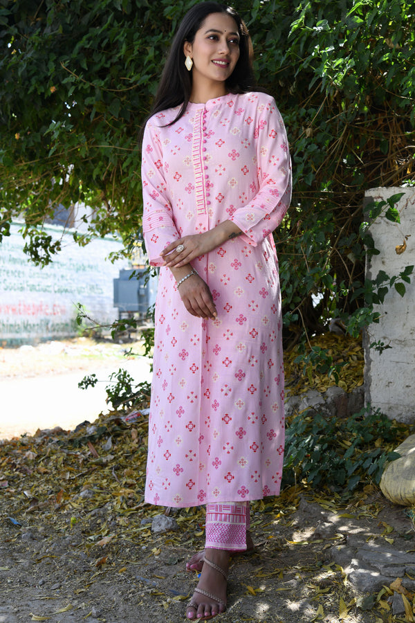 PINK PRINTED HANDWORK KURTA WITH PANT SET