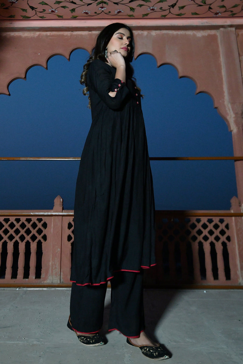 BLACK PITTAN WORK KURTA PLAZZO SET