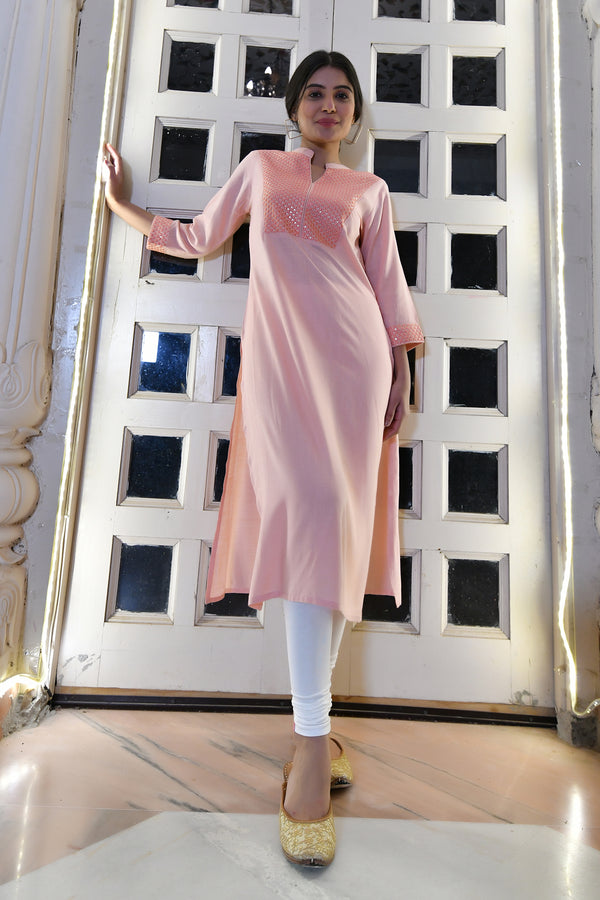EMBROIDERED YOKE RAYON SLUB KURTA ONLY-PEACH