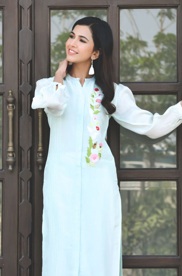 Embroidered  Silk Kurta with Pant - Aqua