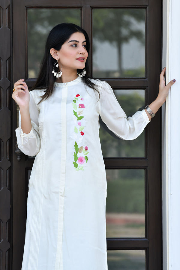 Embroidered  Silk Kurta with Pant - Off-White