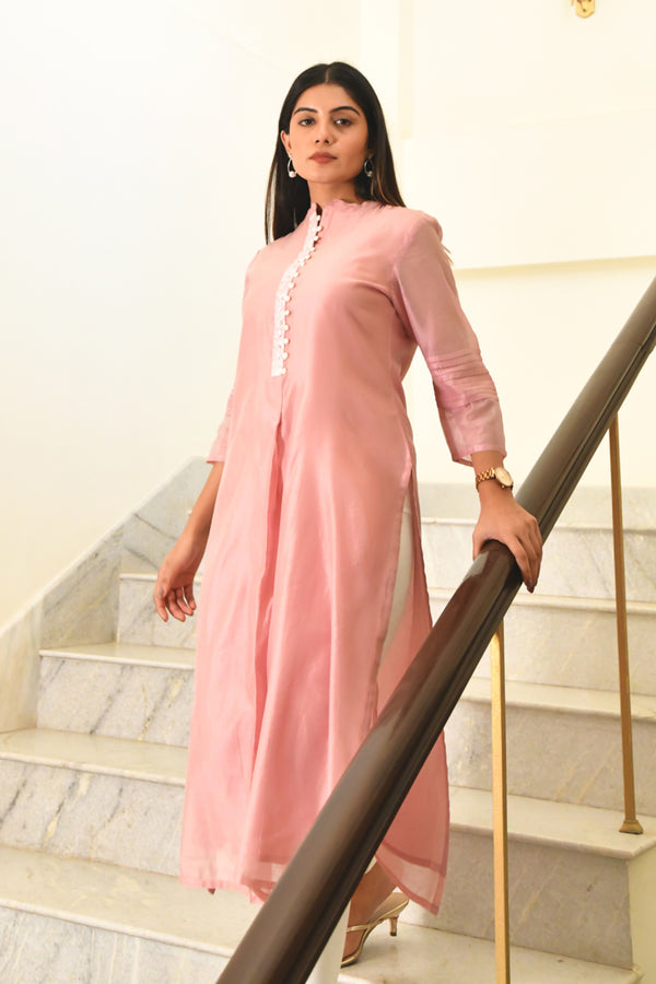 Embroidered Chanderi Kurta - Peach