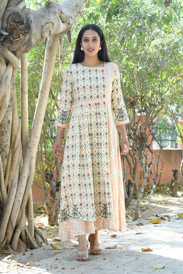 BEIGE MUGHAL PRINTED MAXI DRESS