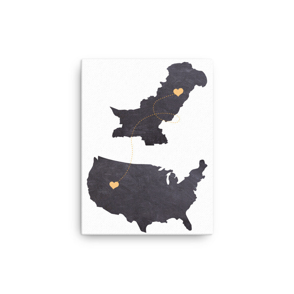 US & Pakistan Map - Black  Canvas
