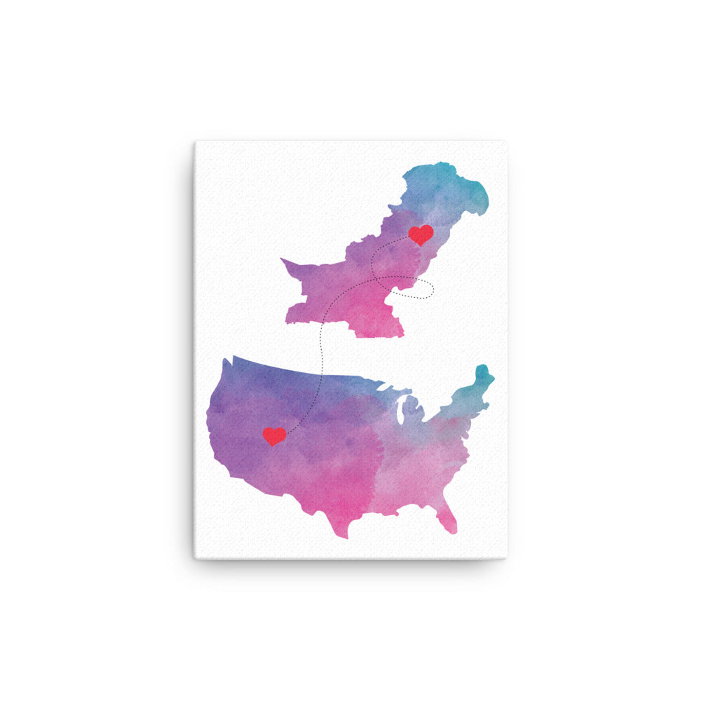 US & Pakistan Map - Purple Canvas