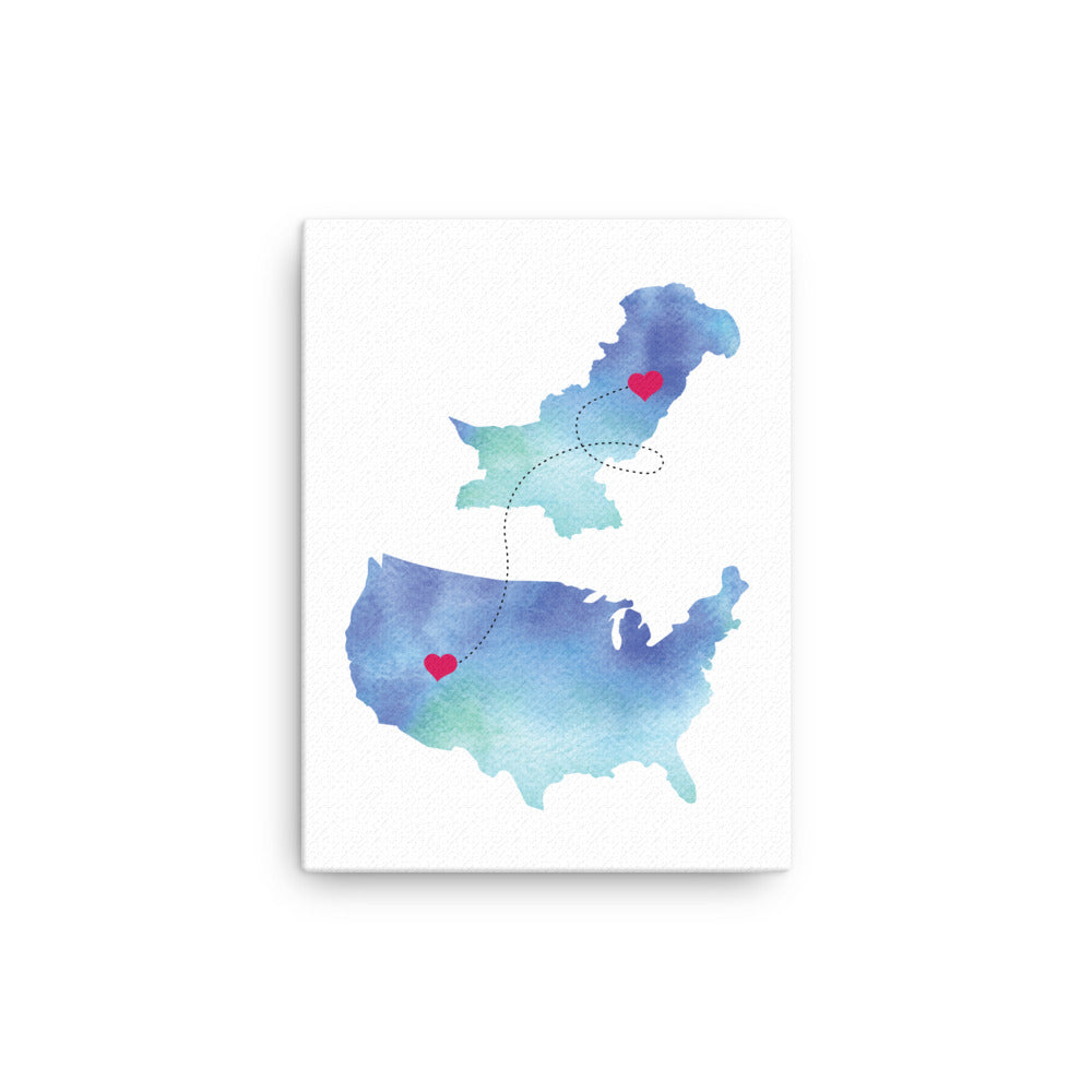 US & Pakistan Map - Blue Canvas