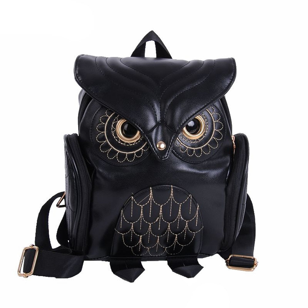 Cute Black Owl Backpack Women Cartoon
