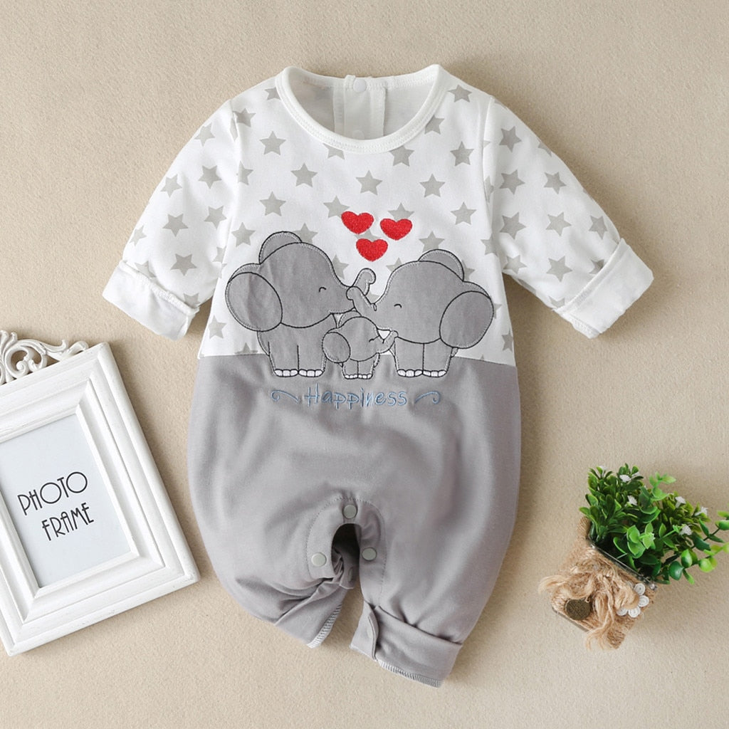Baby Boys Girls Long Sleeve Cartoon Star Print Romper