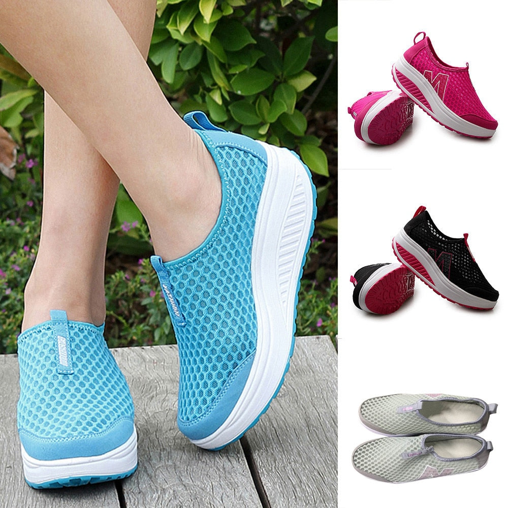 Mesh Flat Sneakers Breathable Air Mesh Swing Wedges