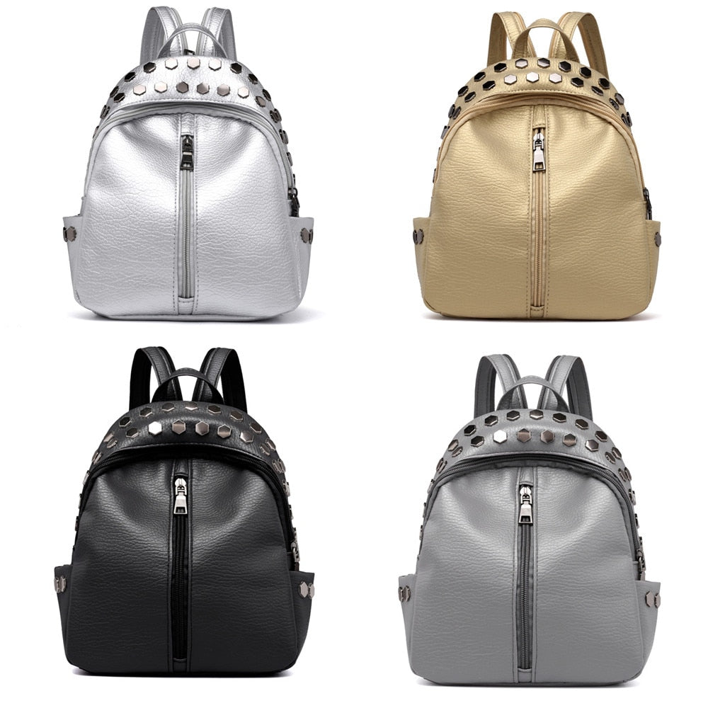 Rucksack Bag Vintage Women's Rivets Leather Backpack
