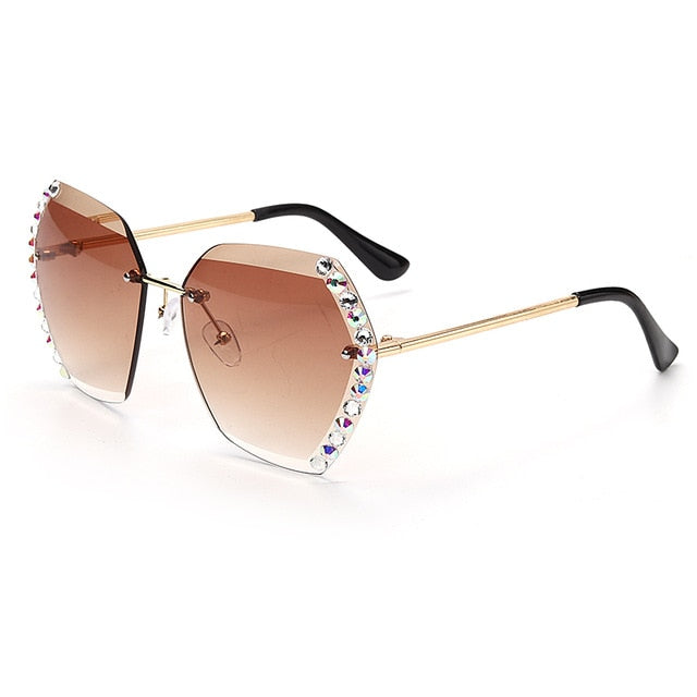 New Crystal Rimless Luxury Sun Glasses Shades Hexagon