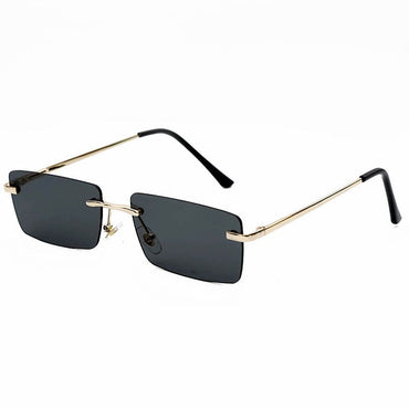Rectangle Rimless Sunglasses Women Vintage