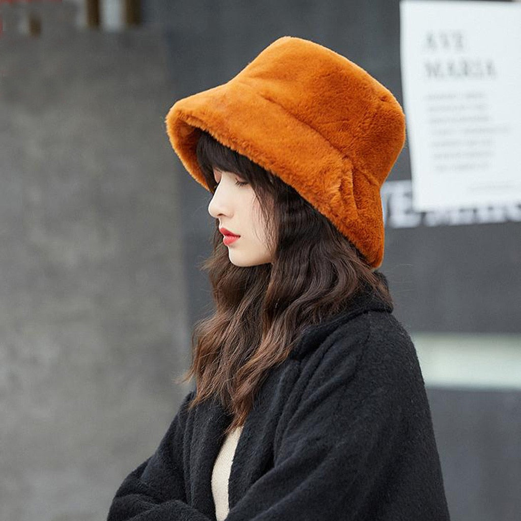 Faux Fur Winter Bucket Hat For Women Girl Fashion