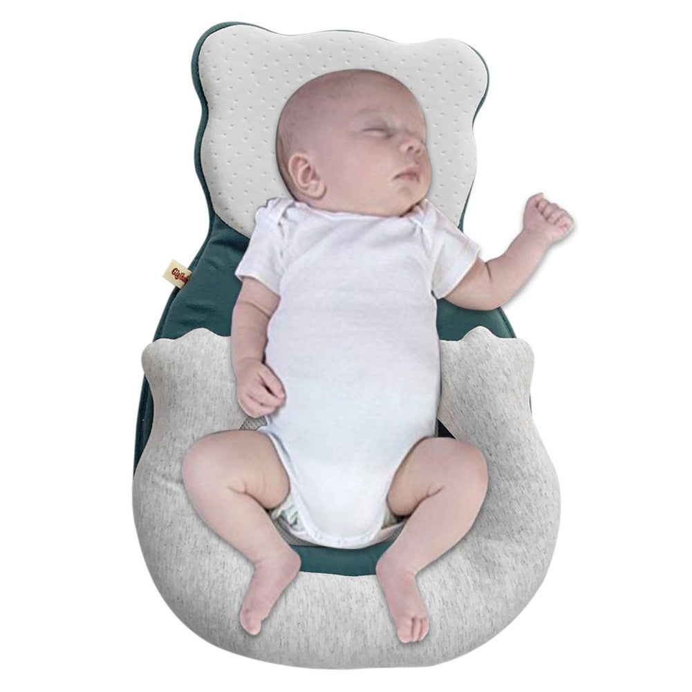 Cartoon Baby Head Shaping Pillow Portable Baby Cribs