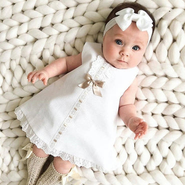 Baby Girl Clothes Sweet Solid Color Bow Lace