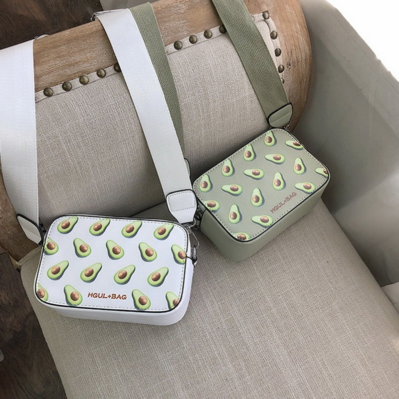 Fruit Avocado Handbags Small Box Shape Shoulder Bags