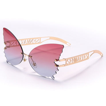 Butterfly Rimless Sunglasses Women Luxury