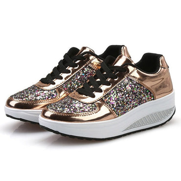 Casual Ladies Wedges Sneakers Sequins Shake Shoes