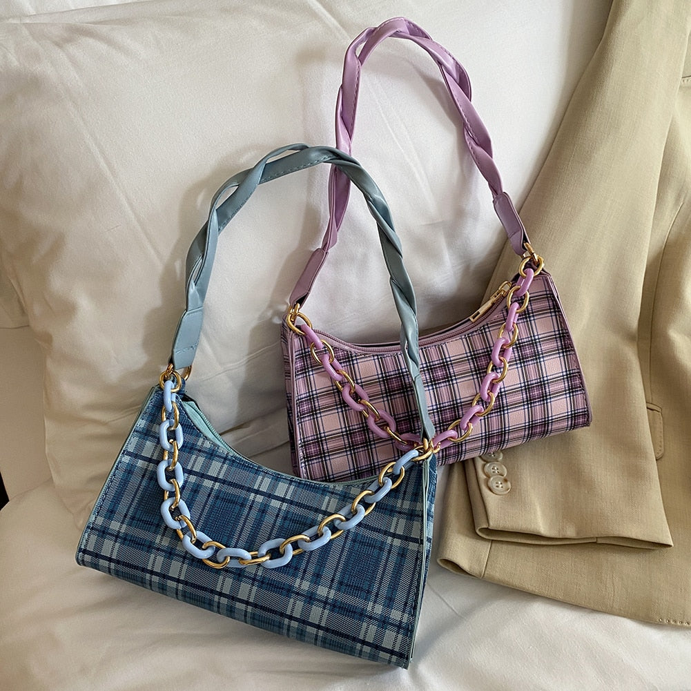 Fashion Plaid Handbag PU Leather Portable